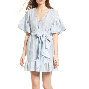 Storee blue stripe ruffle wrap dress